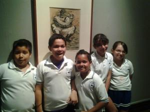 Alumnos de la escuela primaria Carlos L. Oldenbourg, en la Pinacoteca Universitaria