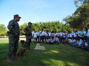 Demostración de búsqueda de narcóticos por elementos caninos de la VI Región Naval
