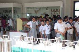 """Alumnos de la escuela primaria """"40 alumnos de la escuela primaria """"Alfredo V. Bonfil"""" recorren las salas del Museo Universitario de Artes Populares """"María Teresa Pomar""""."""